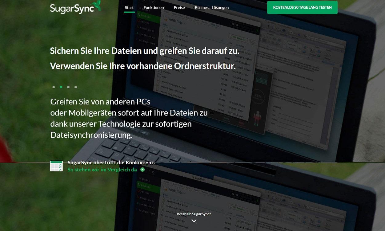 SugarSync Cloud Speicher Webseiten Test 2020.