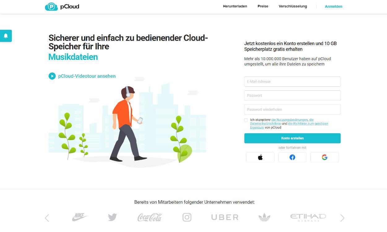 pCloud Cloud Speicher Webseiten Test 2020.