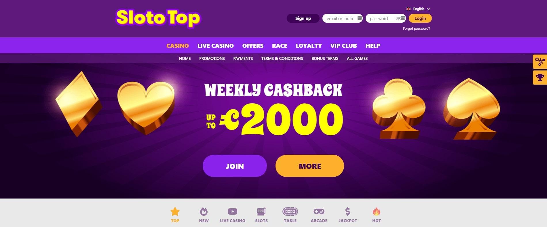 Slototop Casino Webseite