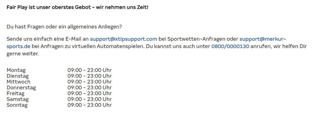 Merkur Sports Kontakt
