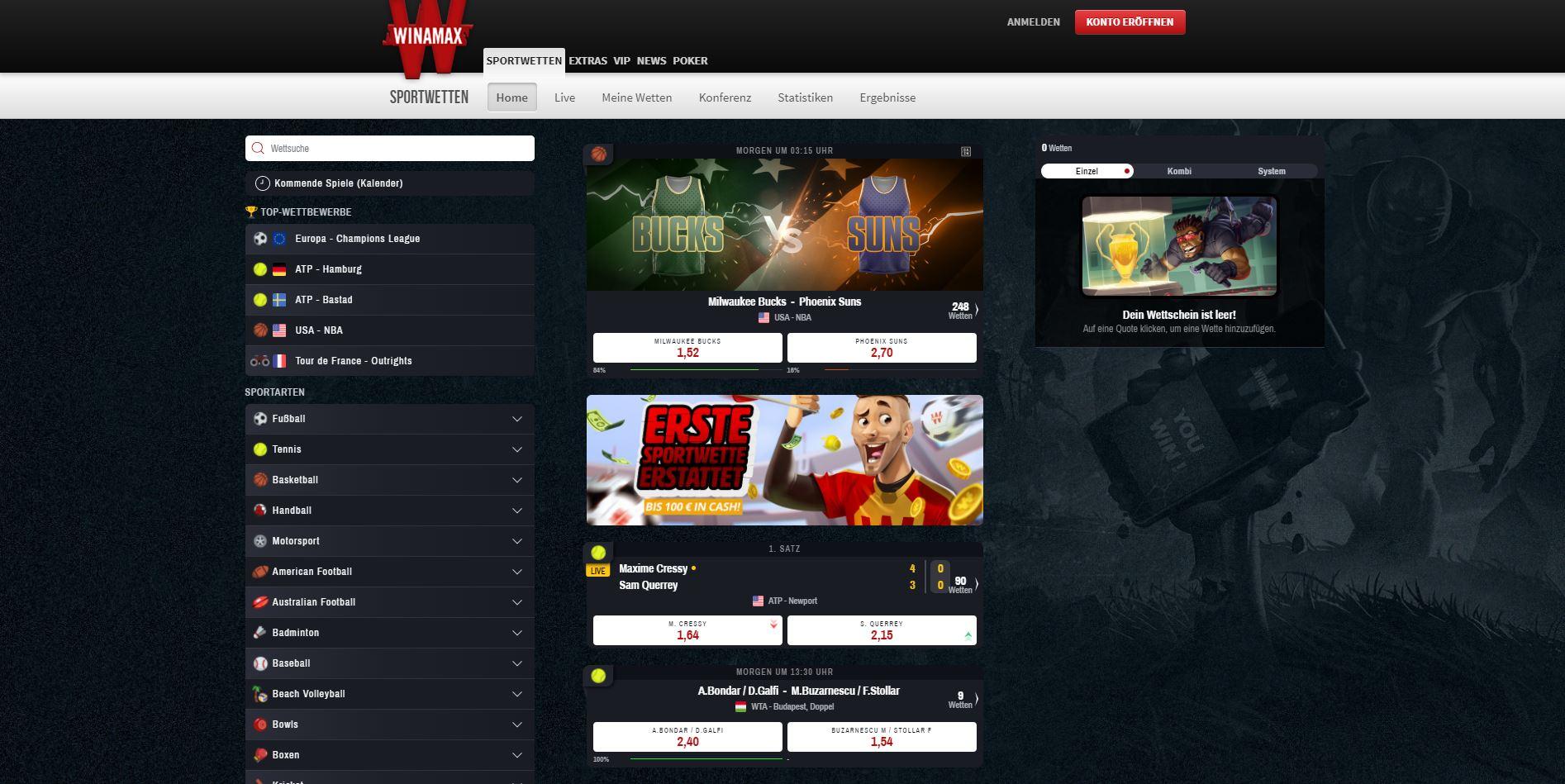 Winamax Sportwetten Erfahrungen Webseite
